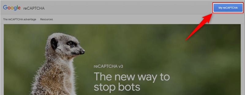 画面右上のMy reCAPTCHAをクリック
